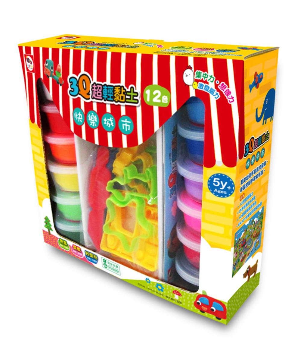 3Q超輕黏土-Enjoy快樂城市(12色)-內附超輕黏土12色+創意模具9件組+ENJOY快樂城市遊戲地圖1張+10個黏土教學